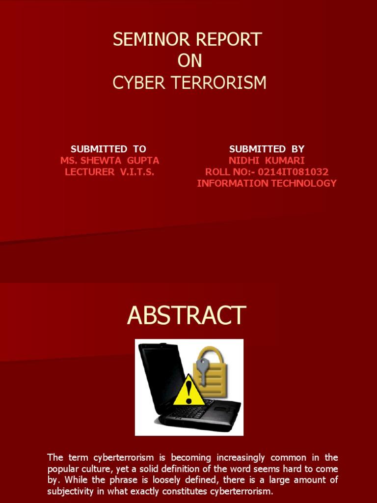 Ppt seminar about cyberterrorism powerpoint presentation id.