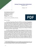 NTSB letter to NHTSA Feb. 1, 2021