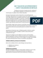 Seguridad y Salud en Las Operaciones e Corte y Soldadura de Metales