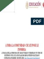 A TODA LA COMUNIDAD  CEICATI 59 SE LE