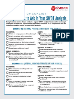 SCORE Canon Questions to Ask in Your SWOT Analysis Checklist
