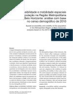 Acessibilidade e mobilidade espaciais da populaçõa na região metropolitana de belo horizonte - análise com base no censo demográfico de 2010