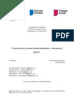 """""""Trayectoria de jóvenes institucionalizados Autonomía y Egreso"""""""