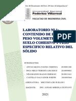 LABORATORIO N°1-CONTENIDO DE HUMEDAD, PESO VOLUMÉTRICO DE SUELO COHESIVO Y PESO ESPECIFICO RELATIVO DE SOLIDOS