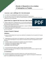 Incitations fiscales et financières à la création d'entreprises en Tunisie