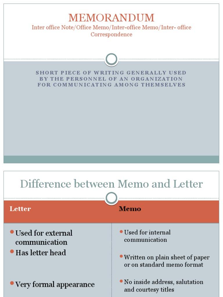 MEMORANDUM – Inter Office Communication Letter
