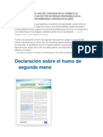 COMPROMISO DE LIGA DEL CORAZON EN EL COMBATE AL TABAQUISMO