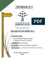 ACTIVIDAD N°2 GRUPAL - DIAGRAMA ISHIKAWA