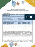 Syllabus del curso Comunicación y Educación
