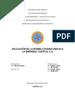 Segunda Asignacion de Mantenimiento Mecánico Inspeccion a La Empresa Copifca, c.A