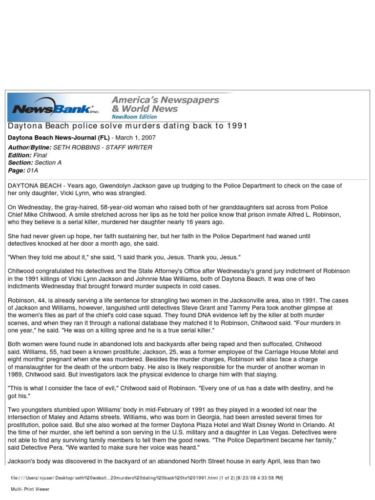 daytona beach police solve murders dating back to 1991 murder