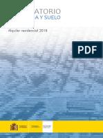 Observatorio de Vivienda y Suelo. Boletín Especial Alquiler residencial 2018