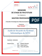 Memoire de Stage de Fin d Etude. Audit de Sécurité Du Système Informatique de Mtic