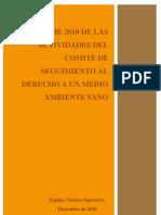 Informe de Actividades Comité de seguimiento al derecho a un Medio Ambiente Sano  2010