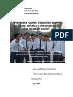 Memoria Juventudes Rurales, Educacion Superior y Trabajo