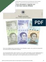 BCV amplía Cono Monetario vigente con incorporación de tres nuevos billetes _ Banco Central de Venezuela