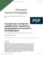 A propos du concept de méditerranée. Expérience géographique du monde et mondialisation