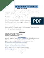 Probabilità e Statistica Matematica I 2019_20