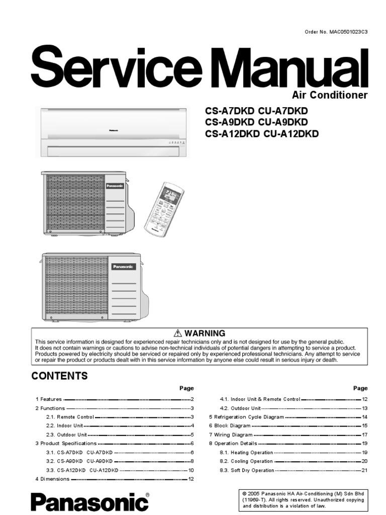 panasonic cs a7dkd cs a9dkd cs a12dkd air conditioners service rh scribd com panasonic operating manual kx-tgf575 panasonic operating manual kxtgea20
