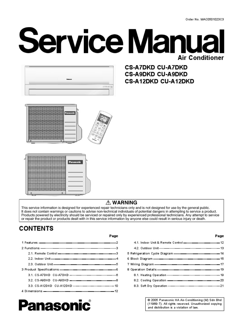 panasonic cs a7dkd cs a9dkd cs a12dkd air conditioners service rh es scribd com panasonic air conditioner service manual pdf panasonic air conditioner inverter service manual