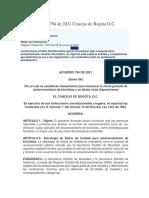 Acuerdo 794 de 2021 Concejo de Bogotá -SELLOS DE CALIDAD+PARQUEO BICI