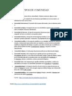 TIPOS DE COMUNIDAD