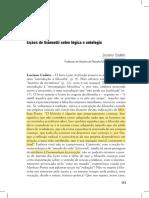 Lições de Giannotti sobre lógica e ontologia (L. Codato)