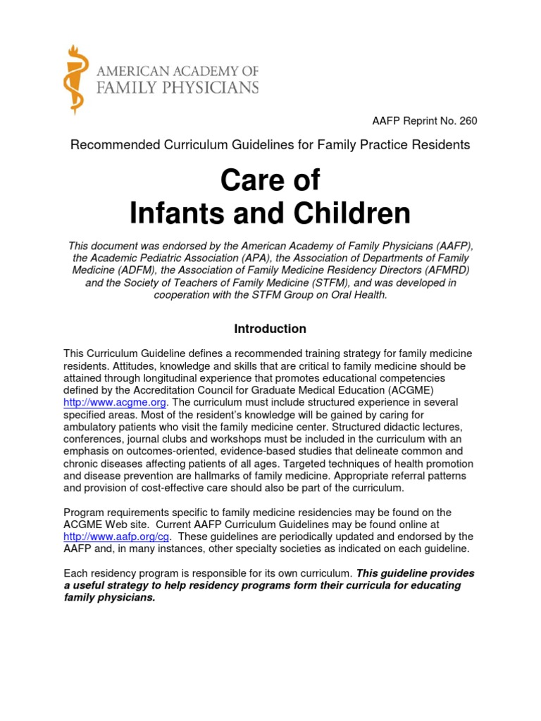 care of the infant children family medicine residency medicine rh es scribd com Course Planning Curriculum and Assessment
