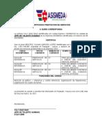 Formato Certificación prestacion de servicios