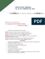 PLANIFICACIÓN SEMANAL DEL 22  AL 26 DE FEBRERO