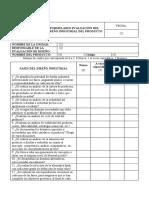 Formulario Evaluación Del Diseño Industrial Del Producto