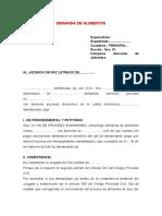 DEMANDA DE ALIMENTOS modelo