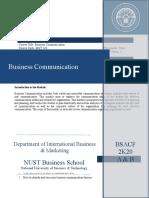 Business Communication OUTLINE  Spring 2021