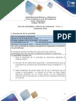 Guía de actividades y rúbrica de evaluación - Etapa 5 Evaluación final