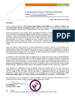 PETITION  Force Démocratique Haïtien Intégré-FDHI and the MILEVA (Military and Law Enforcement Veterans Association) 15 Mars 2021