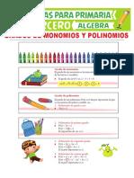 Grados de Monomios y Polinomios Para Tercero de Primaria