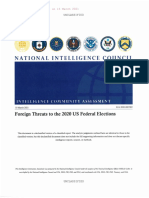 Foreign Threats to the 2020 US Election