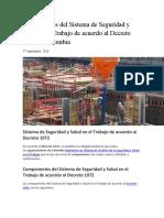 Componentes del Sistema de Seguridad y Salud en el Trabajo de acuerdo al Decreto 1072 en Colombia