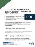 DECÁLOGO DEL BUEN LECTOR