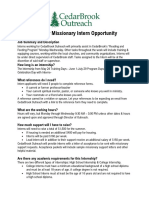 2021 Summer Missionary Intern Document