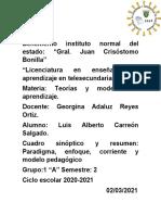 Paradigma enfoque corriente y modelo pedagógico_ Cuadro sinoptico y resumen
