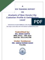 ANALYSIS OF NEW HONDA CITY CUSTOMER PROFILE & SATISFACTION LEVEL