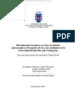 Discriminación de Género en El Uso de Métodos Anticonceptivos - Perspectivas de Los y Las Estudiantes de La U Del Bío-Bío, Sede Concepción