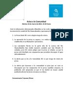 Comunicado Concesionaria Trasvase Olmos 16.03.2021