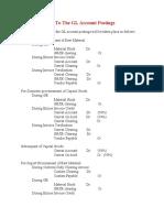 Various Postings To The GL Account Postings