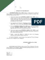 Affidavit of Discrepancy -Porras