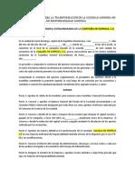ACTA DE ASAMBLEA DE TRANSFORMACIÓN DE S.A. A E.I.R.L.