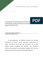analyse des données pratique traditionnelle et assistée par le logiciel NUD IST 1 SavoieZajc