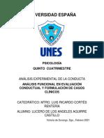 ANÁLISIS FUNCIONAL EN EVALUACIÓN CONDUCTUAL Y FORMULACIÓN DE CASOS CLÍNICOS