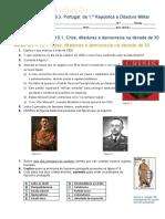 Ficha de avaliação (9º ano) Queda da Monarquia - Crise de 1929 - Fascismo Italiano, Nazismo, Estado Novo, New Deal, Buy British